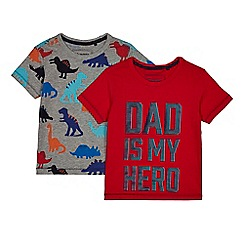 bluezoo - Pack of two boys' multi-coloured Dino and Dad t-shirts