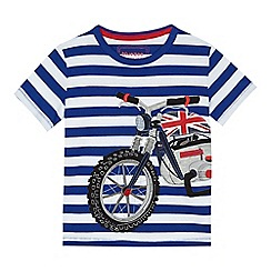 bluezoo - Boys' blue striped motorbike applique t-shirt