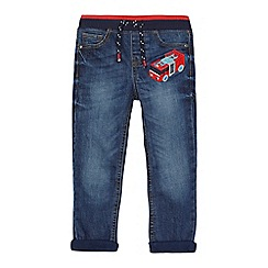 bluezoo - Boys' blue fire engine applique jeans