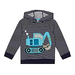 bluezoo - Boys' navy striped digger applique hoodie