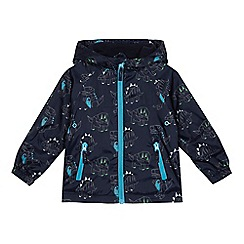 bluezoo - Boys' navy dinosaur print shower resistant jacket