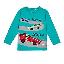 bluezoo - Boys' green monster racing cars applique top