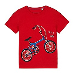 bluezoo - Boys' red bicycle print t-shirt