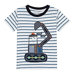 bluezoo - Boys' white striped digger applique t-shirt