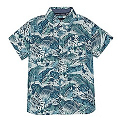 Mantaray - Boys' green and blue palm leaf print shirt