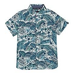Mantaray - Boys' green and blue palm leaf print shirt