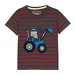 bluezoo - Boys' grey striped digger applique t-shirt