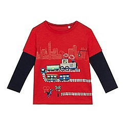 bluezoo - 'Boys' red train applique long sleeve top