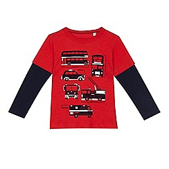 bluezoo - 'Boys' red transport print top