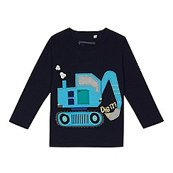 bluezoo - Boys' navy digger applique top