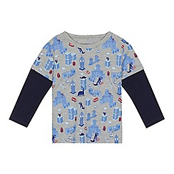 bluezoo - 'Boys' grey London dinosaur print long sleeve top
