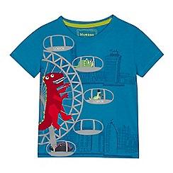 bluezoo - Boys' blue London dinosaur applique t-shirt