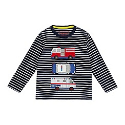 bluezoo - Boys' navy striped services applique top