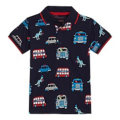 bluezoo - Boys' navy London vehicle print polo shirt