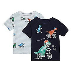 bluezoo - Pack of two boys' navy and white biking dinosaur print t-shirts