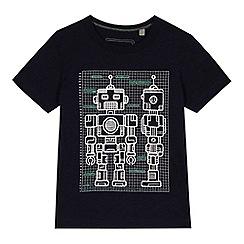 bluezoo - Boys' navy foil-effect robot print t-shirt