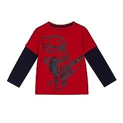 bluezoo - Boys' red dinosaur print mock t-shirt