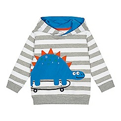 bluezoo - Boys' grey striped dinosaur applique hoodie