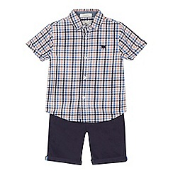J by Jasper Conran - Boys' multi-coloured gingham print short sleeve shirt and navy shorts set