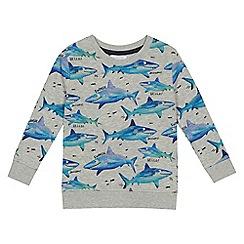 bluezoo - Boys' grey shark print long sleeve sweatshirt