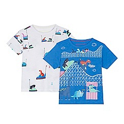 bluezoo - 'Set of 2 boys' blue and white theme park print t-shirts