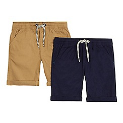 bluezoo - 'Pack of 2 boys' navy and natural shorts