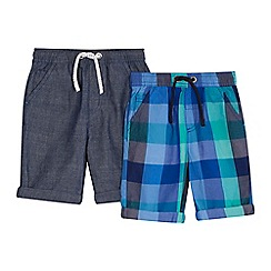 bluezoo - 'Pack of 2 boys' assorted checked and chambray shorts