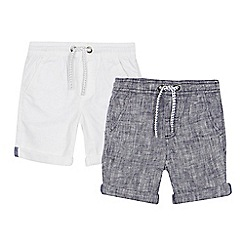 bluezoo - 'Set of 2 boys' white and navy linen blend shorts
