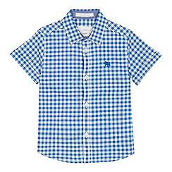 J by Jasper Conran - 'Boys' blue checked print short sleeve shirt