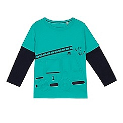 bluezoo - Boys' green embossed fire engine mock top