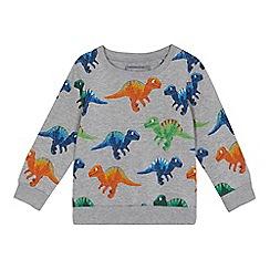 bluezoo - Boys' grey dinosaur print sweater