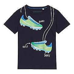 bluezoo - 'Boys' navy football boot print t-shirt