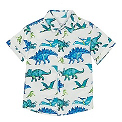 bluezoo - Boys' white dinosaur print short sleeve shirt