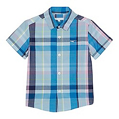 bluezoo - Boys' blue checked short sleeve shirt