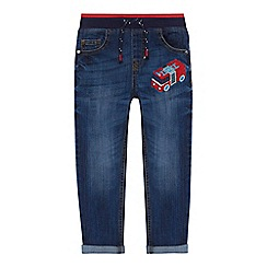 bluezoo - Boys' navy fire engine applique light wash denim jeans