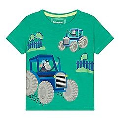 bluezoo - 'Boys' bright green monkey tractor applique t-shirt