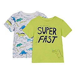 bluezoo - 'Set of 2 boys' green and white dinosaur print t-shirts