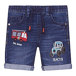 bluezoo - 'Boys' blue vehicle applique denim shorts