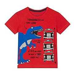 bluezoo - 'Boys' red T-rex applique t-shirt