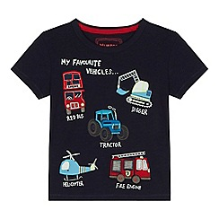 bluezoo - 'Boys' navy transport embroidered t-shirt