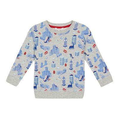 bluezoo Boys  grey London print sweater  ca199b09b27b