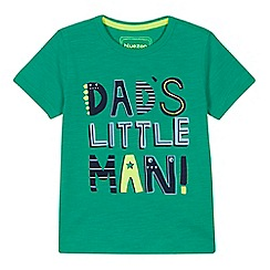 bluezoo - Boys' green 'Dad's Little Man' print t-shirt