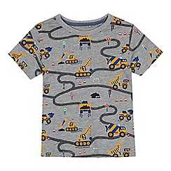 bluezoo - Boys' light grey digger print t-shirt