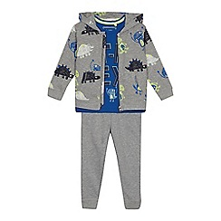 bluezoo - Boys' grey dinosaur print sweater, t-shirt and bottoms set