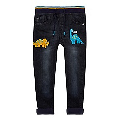 bluezoo - Boys' blue dinosaur embroidered slim fit jeans
