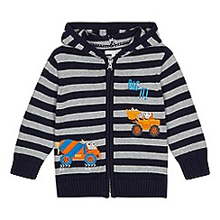 bluezoo - Boys' navy striped digger applique cardigan