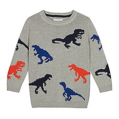 bluezoo - Boys' grey dinosaur knit jumper