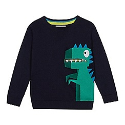 bluezoo - Boys' Navy Dinosaur Knit Jumper