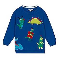 bluezoo - Boys' blue dinosaur knitted Christmas jumper