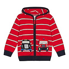 bluezoo - Boys' red striped vehicle applique cotton cardigan